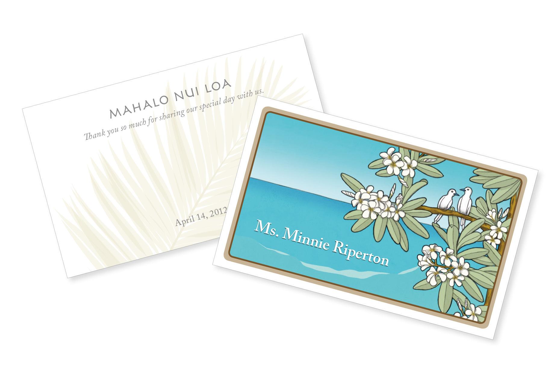 Hawaii wedding name card