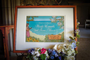 Hawaii wedding welcome board