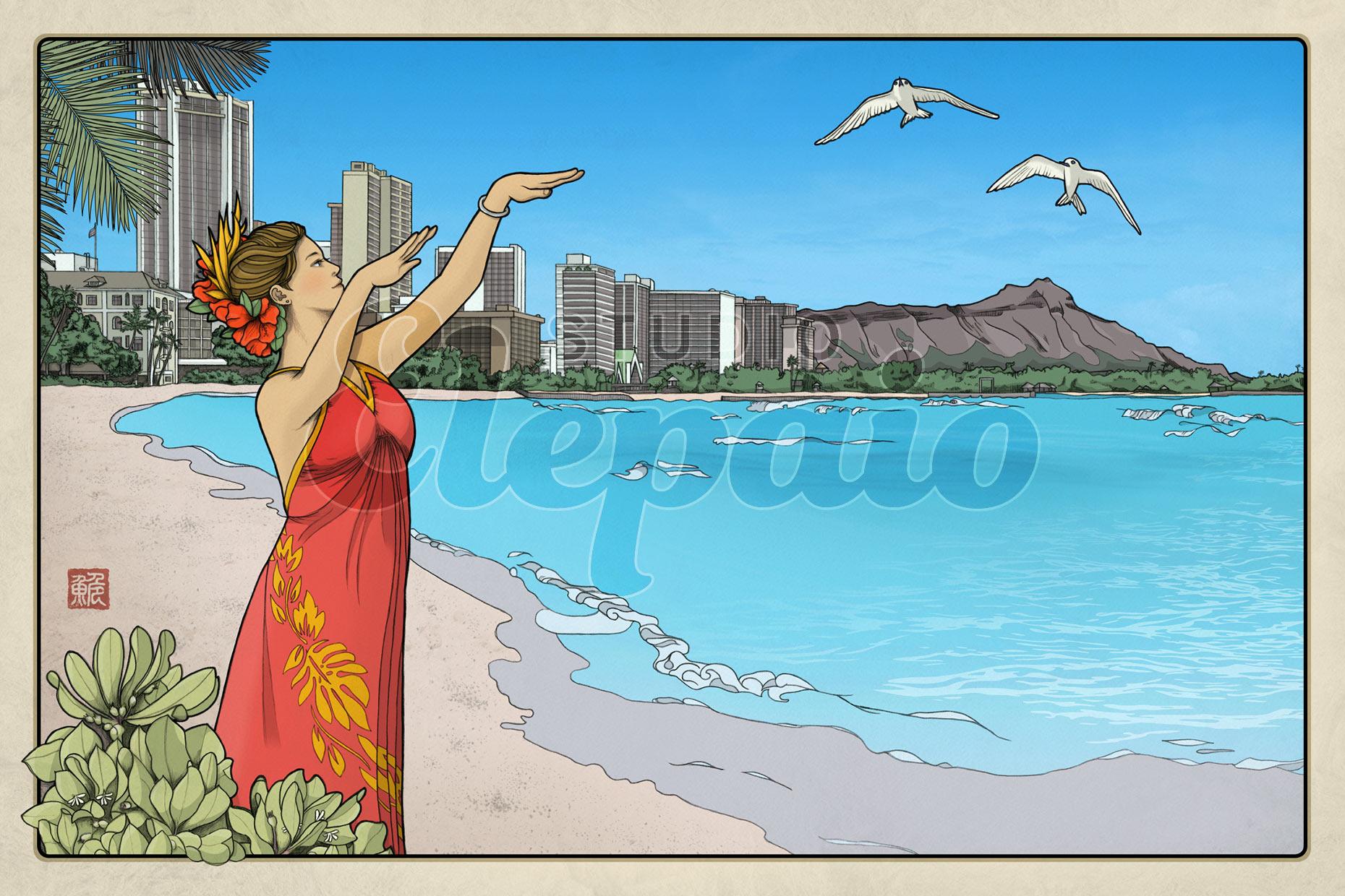 Thirty-six Views of Diamond Head No.1 Waikiki Bay
